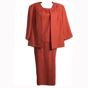 🆕 Koret 3-Piece Orange Skirt Suit, Size 10